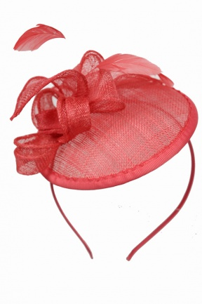 Coral Small Saucer Hat Fascinator with Aliceband  1dc04c7fa05